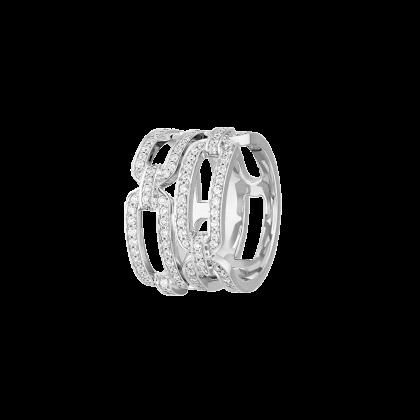 Bague Maillon L grand modèle or blanc et diamants