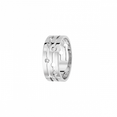 Bague Pulse dinh van moyen modèle or blanc et diamants