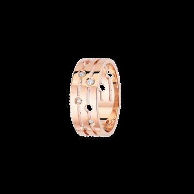 Bague Pulse dinh van moyen modèle or rose et diamants