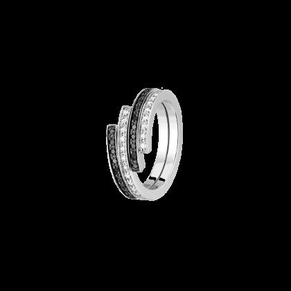 Bague duo Spirale dinh van petit modèle or blanc, diamants et diamants noirs
