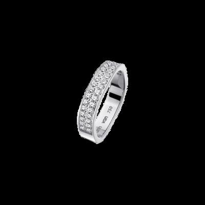 Alliance carrée 4mm or blanc et diamants