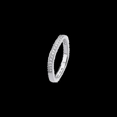 Alliance carrée 2mm or blanc et diamant