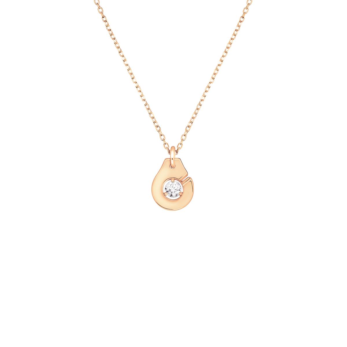 Collier Menottes dinh van R8 or rose et diamant