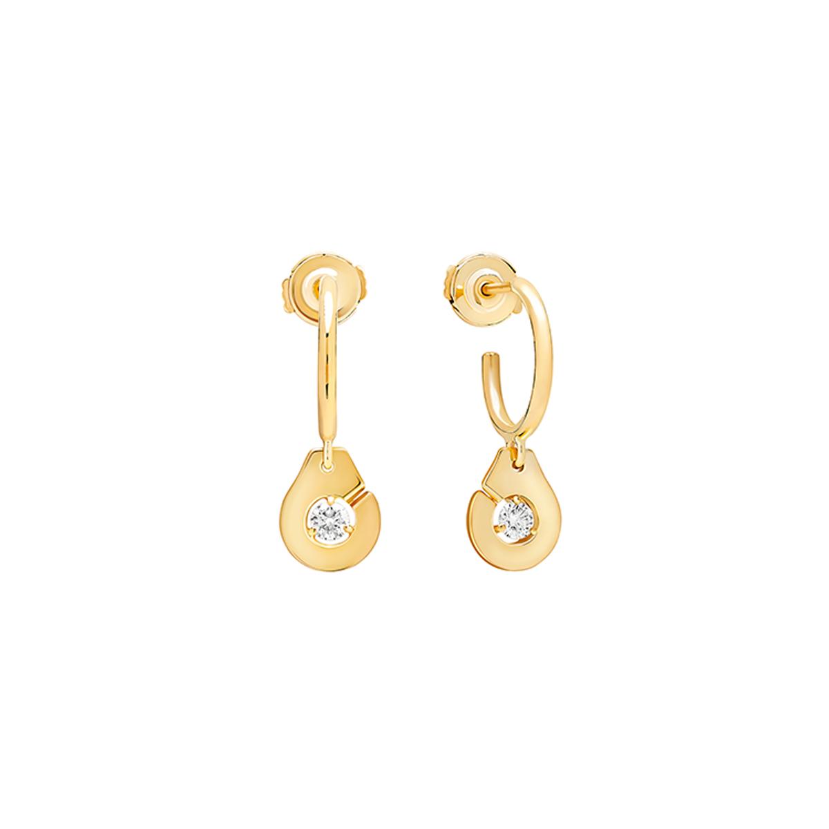 Créoles Menottes dinh van R8 en or jaune et diamants