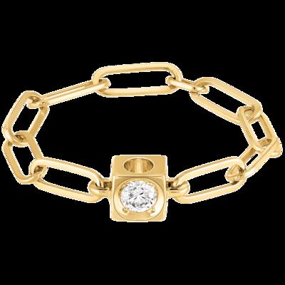 Bague chaîne Le Cube Diamant en or jaune et diamant
