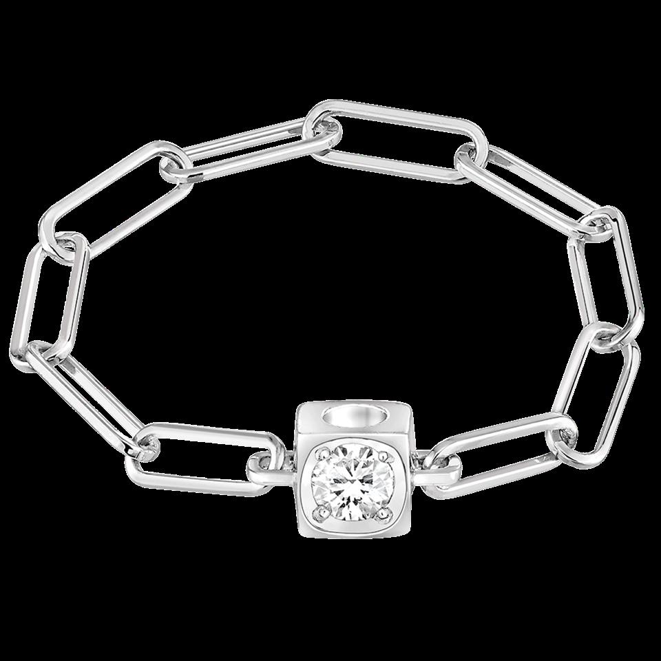 Bague chaîne Le Cube Diamant en or blanc et diamant