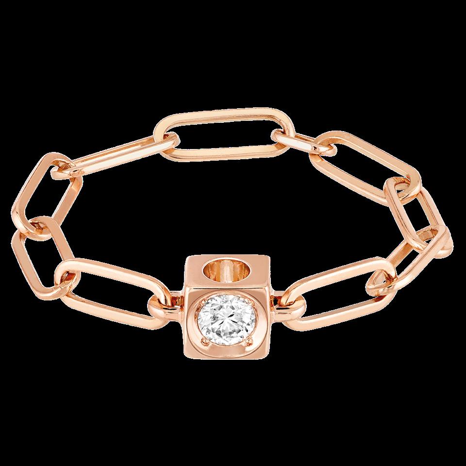 Bague chaîne le Cube Diamant en or rose et diamant