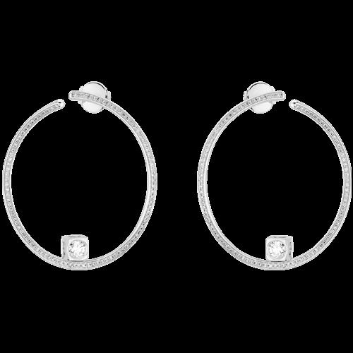 Créoles Le Cube Diamant grand modèle or blanc et diamants