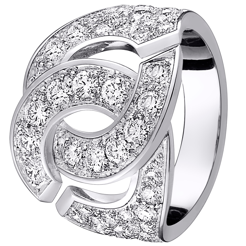 Bague menottes dinh van R16 or blanc et diamants