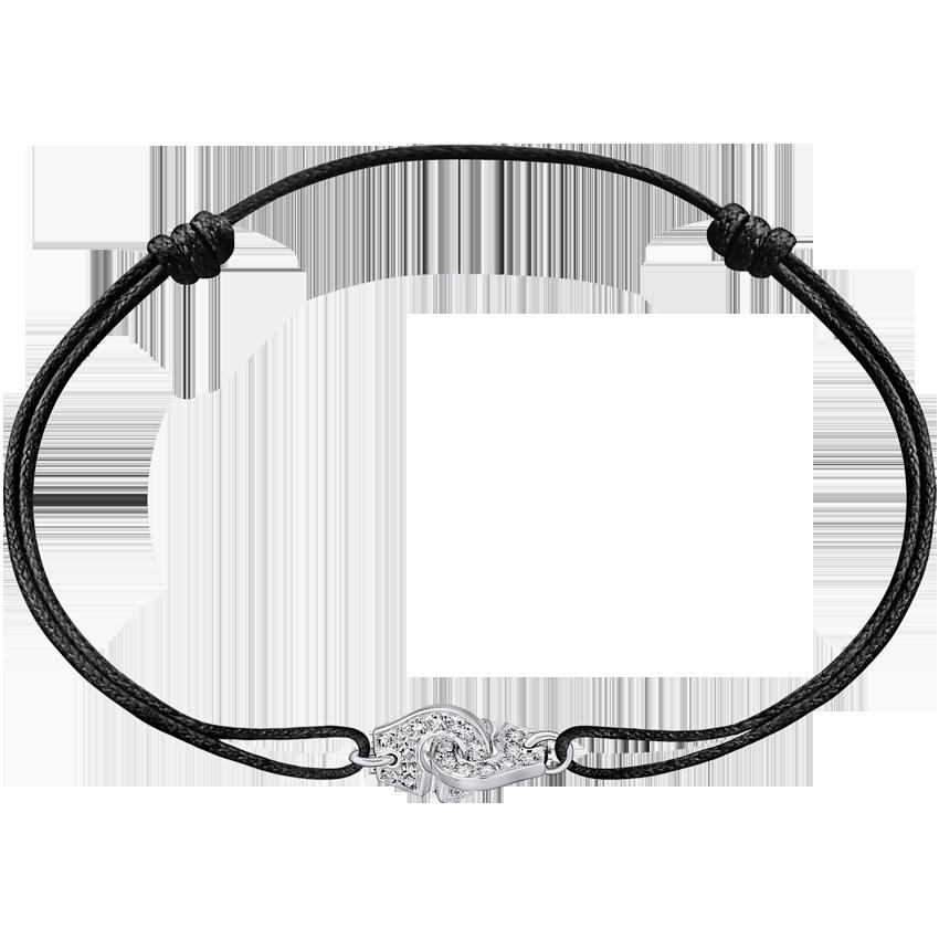 Bracelet sur cordon Menottes dinh van R8 or blanc et diamants