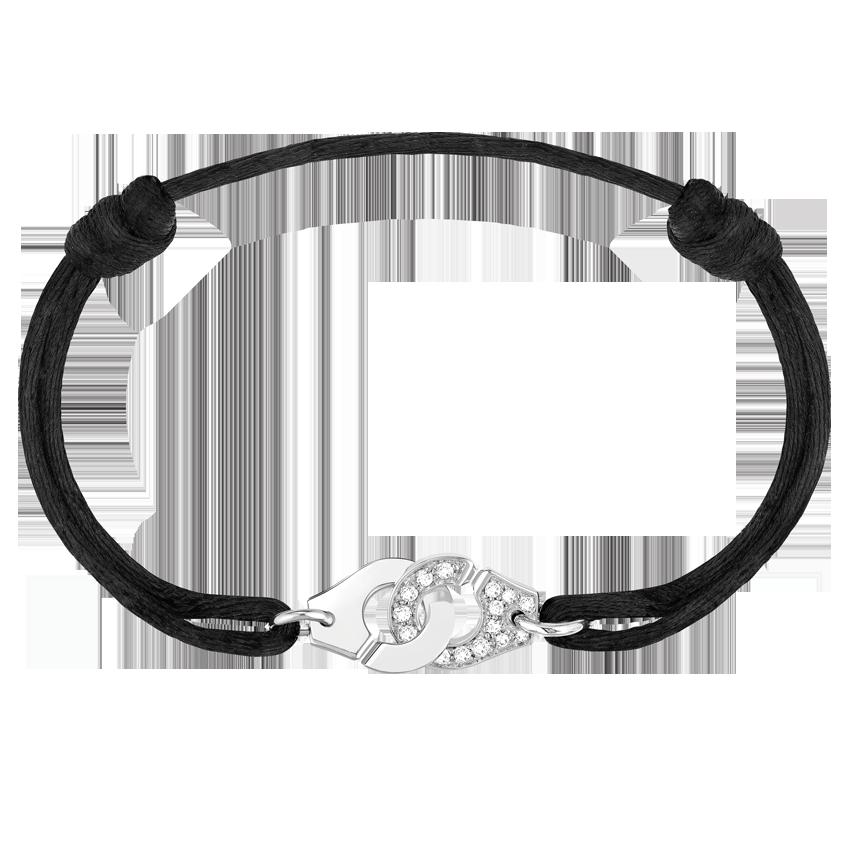 Bracelet sur cordon Menottes dinh van R10 or blanc et diamants