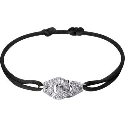 Bracelet sur cordon Menottes dinh van R12 or blanc et diamants