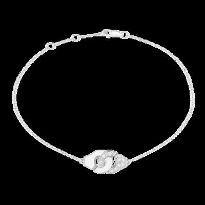 Bracelet Menottes dinh van R8 or blanc et diamants