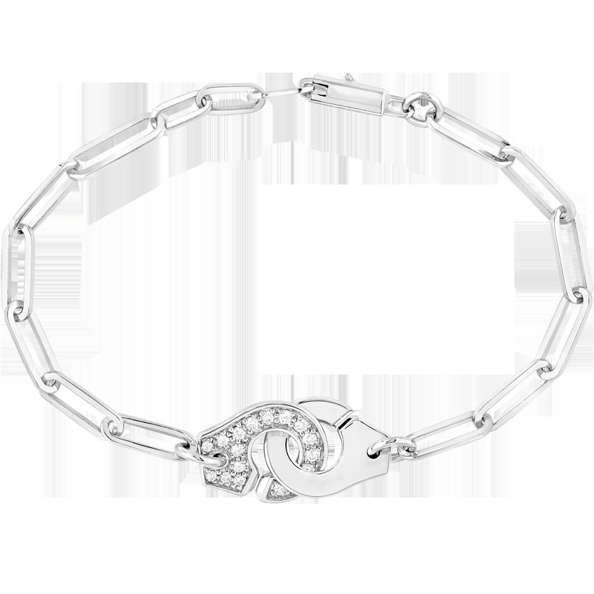 Bracelet Menottes dinh van R12 or blanc et diamants