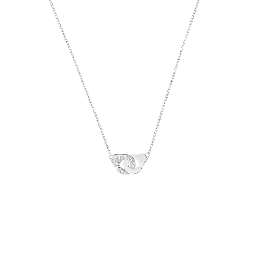 Collier Menottes dinh van R8 or blanc et diamants
