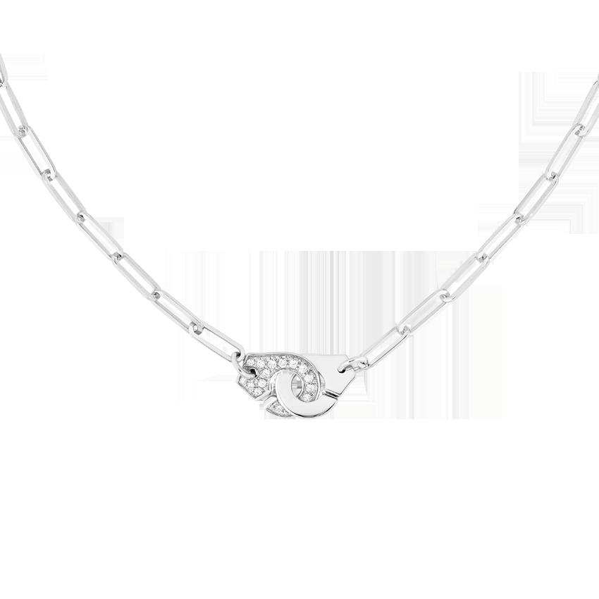 Collier Menottes dinh van R12 or blanc et diamants