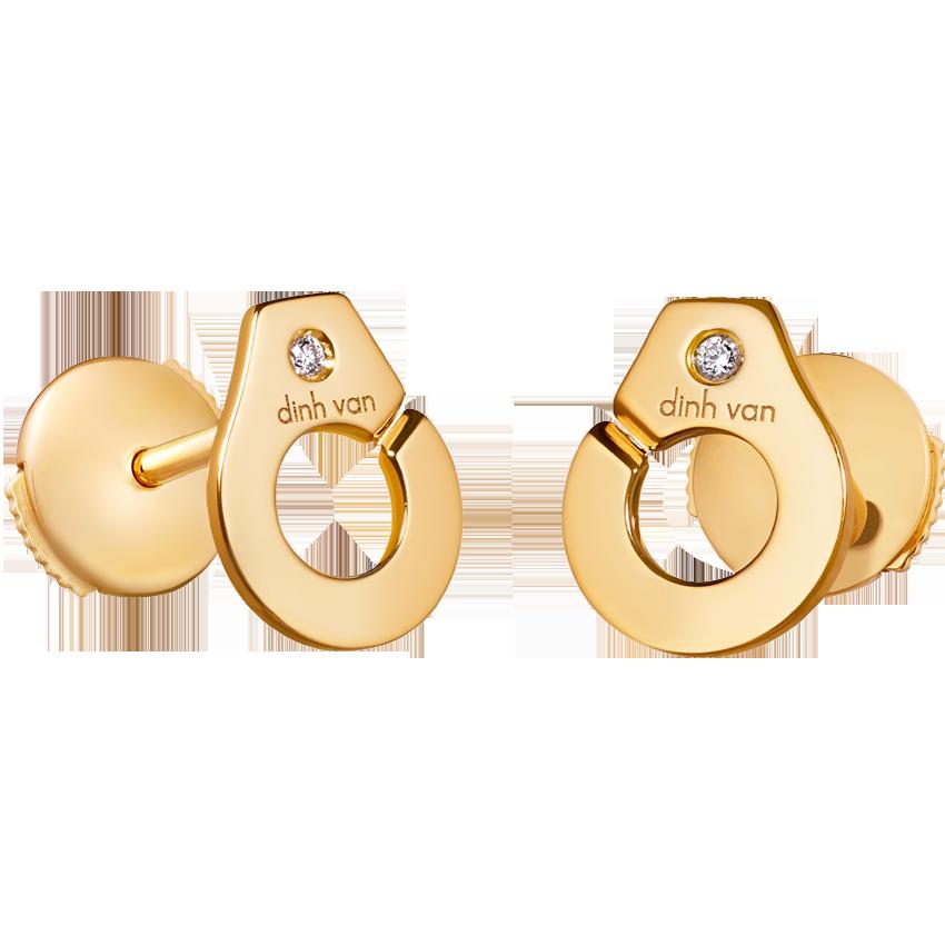 Puces d'oreilles Menottes dinh van R7,5 or jaune et diamants
