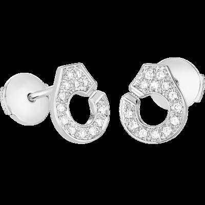 Puces d'oreilles Menottes dinh van R7,5 or blanc et diamants