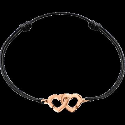 Bracelet sur cordon Double Cœurs R9 or rose