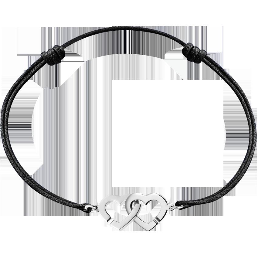 Bracelet sur cordon Double Cœurs R9 or blanc