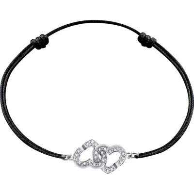 Bracelet sur cordon Double Cœurs R9 or blanc et diamants
