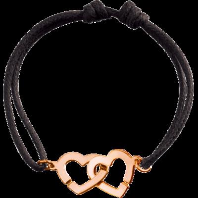 Bracelet sur cordon Double Cœurs R13 or rose