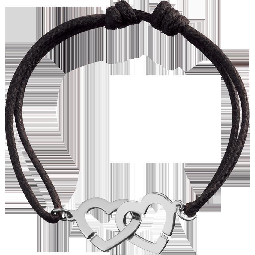 Bracelet sur cordon Double Cœurs R13 or blanc