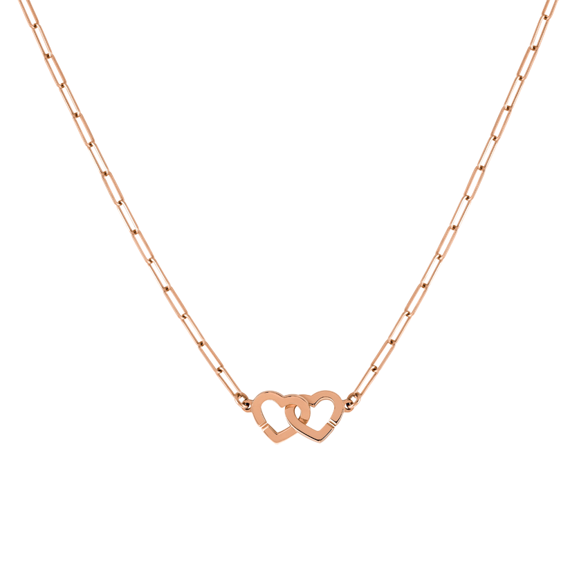 Collier Double Cœurs R9 or rose