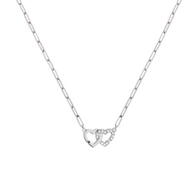 Collier Double Cœurs R9 or blanc et diamants