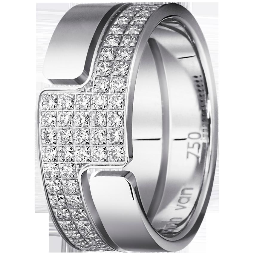 Bague Seventies moyen modèle or blanc et diamants