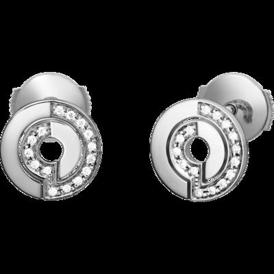 Puces d'oreilles Seventies or blanc et diamants