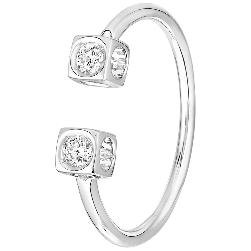 Bague Le Cube Diamant or blanc et diamants