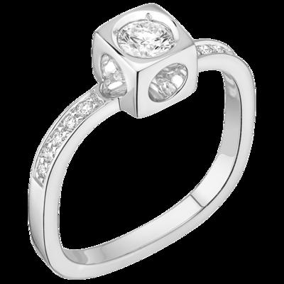 Bague Le Cube Diamant grand modèle or blanc et diamants