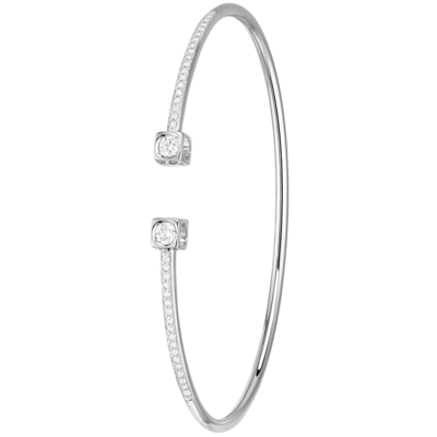 Bracelet Le Cube Diamant grand modèle or blanc et diamants