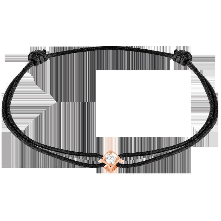 Bracelet sur cordon Le Cube Diamant or rose et diamant