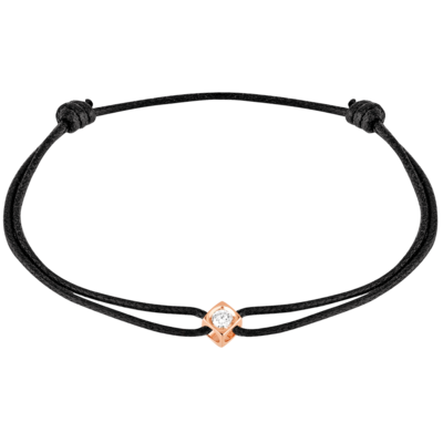 Bracelet sur cordon Le Cube Diamant or rose et diamant