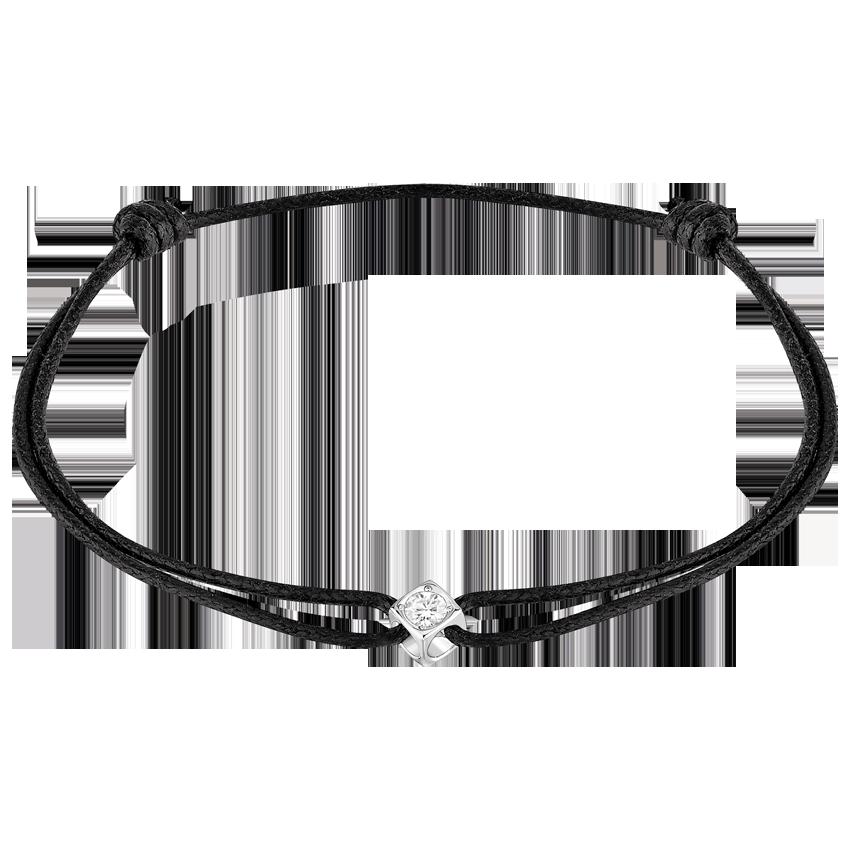 Bracelet sur cordon Le Cube Diamant or blanc et diamant
