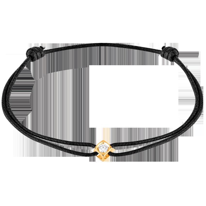 Bracelet sur cordon Le Cube Diamant or jaune et diamant