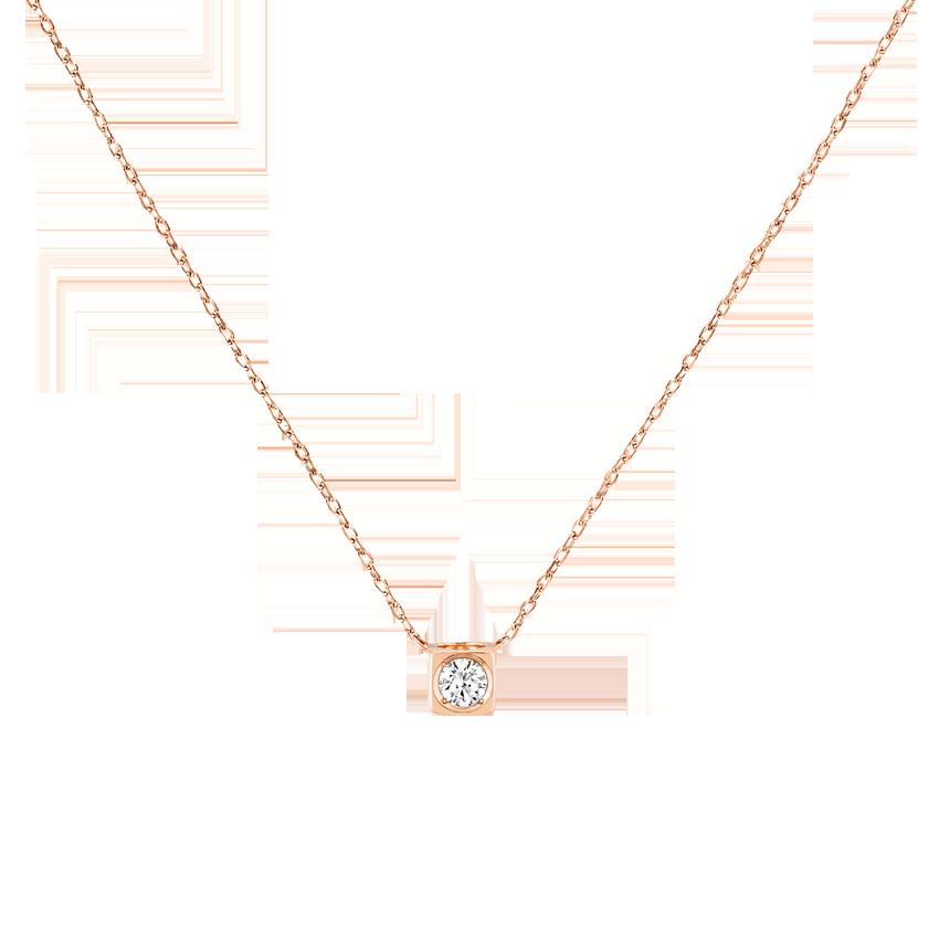 Collier Le Cube Diamant moyen modèle or rose et diamant