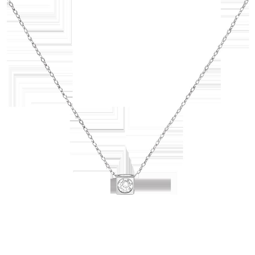Collier Le Cube Diamant moyen modèle or blanc et diamant