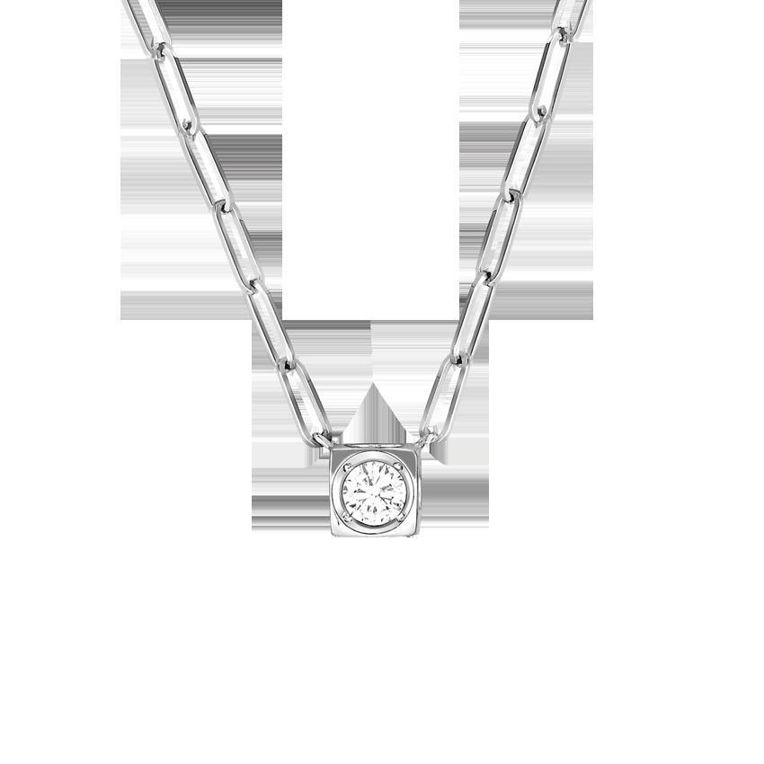 Collier Le Cube Diamant grand modèle or blanc et diamant