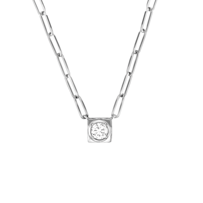 Collier Le Cube Diamant grand modèle or blanc et diamant
