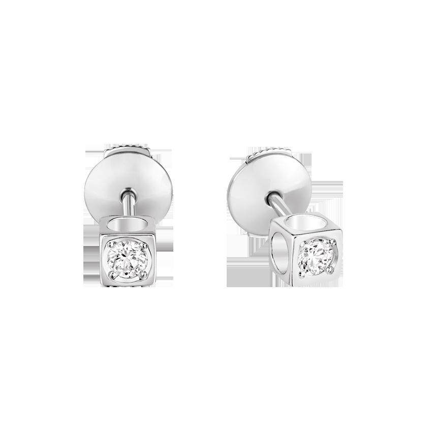 Puces d'oreilles Le Cube Diamant petit modèle or blanc et diamants