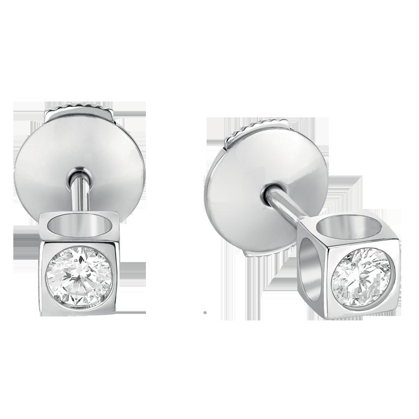 Puces d'oreilles Le Cube Diamant moyen modèle or blanc et diamants