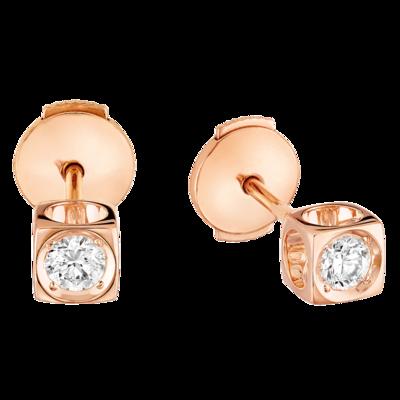 Puces d'oreilles Le Cube Diamant moyen modèle or rose et diamants