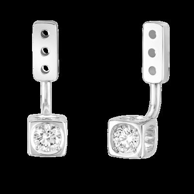 Dessous d'oreilles Le Cube Diamant moyen modèle or blanc et diamants