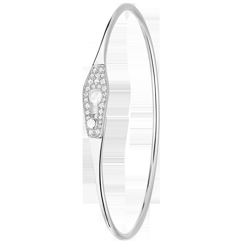 Bracelet Serrure Jonc or blanc et diamants