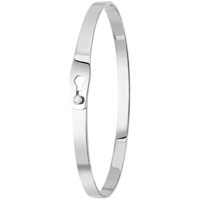 Bracelet Serrure or blanc et diamant