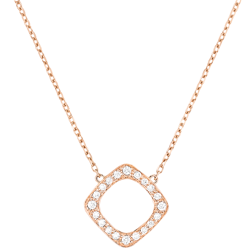 Collier Impression or rose et diamants