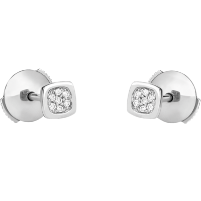 Puces d'oreilles Impression Domino or blanc et diamants